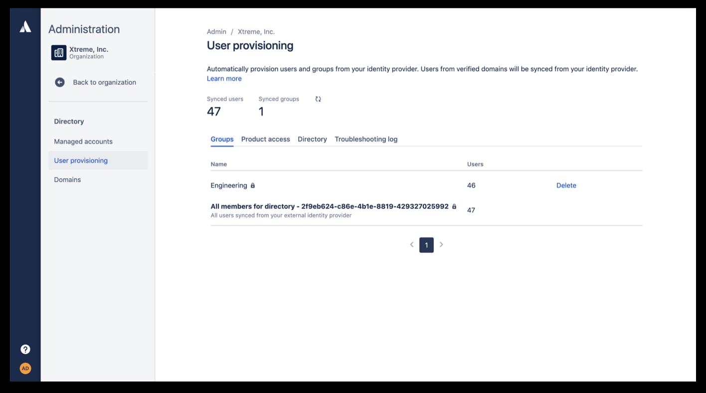 Captura de pantalla del aprovisionamiento de usuarios