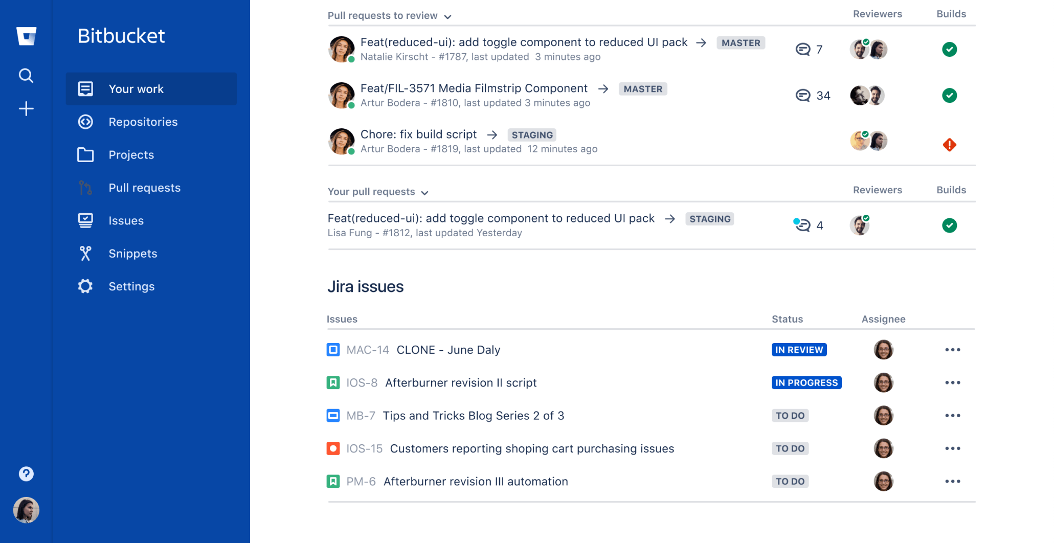 Bitbucket irányítópult képernyőképe