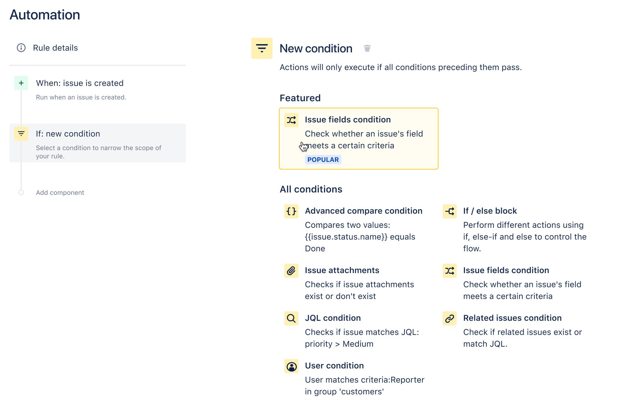 L'elenco delle condizioni disponibili durante la creazione di una regola.