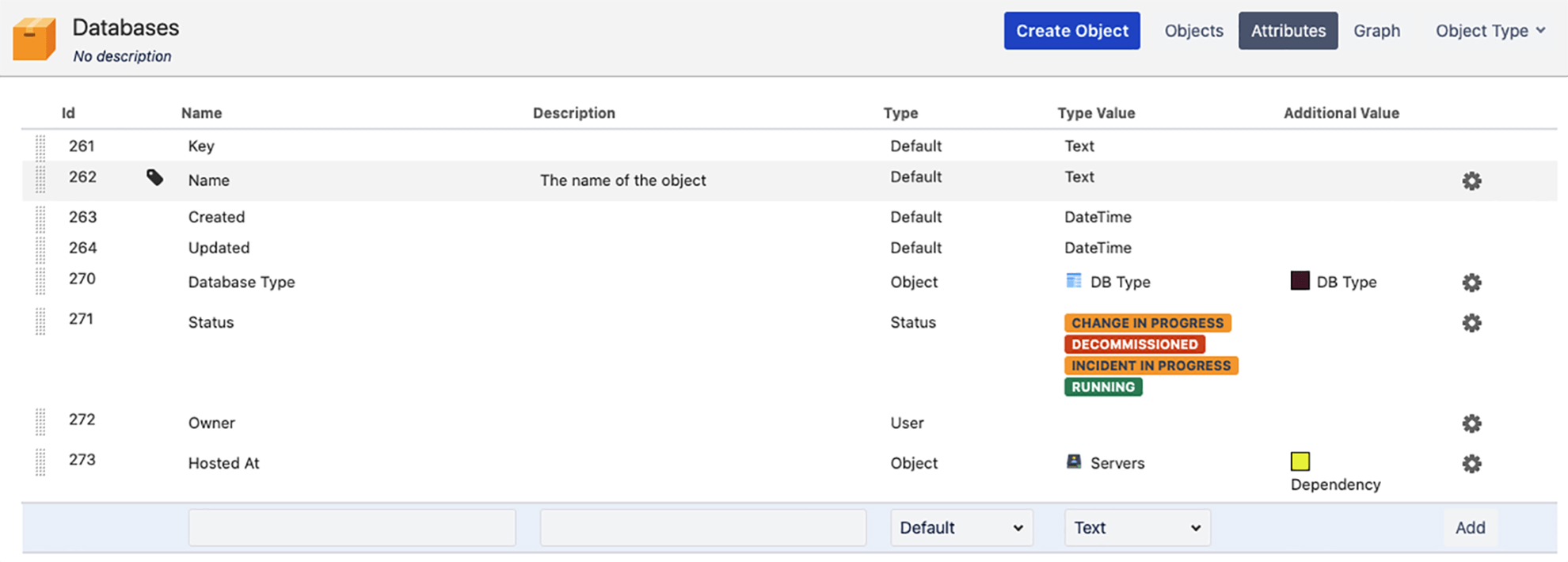 Insight attributes page showing different attributes for a database object including DB type, status, hosted at and more.