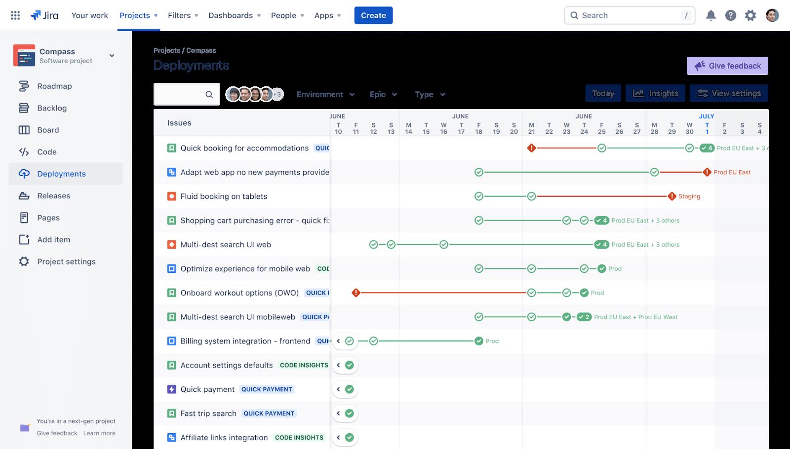 Deployment dashboard view in Jira Software
