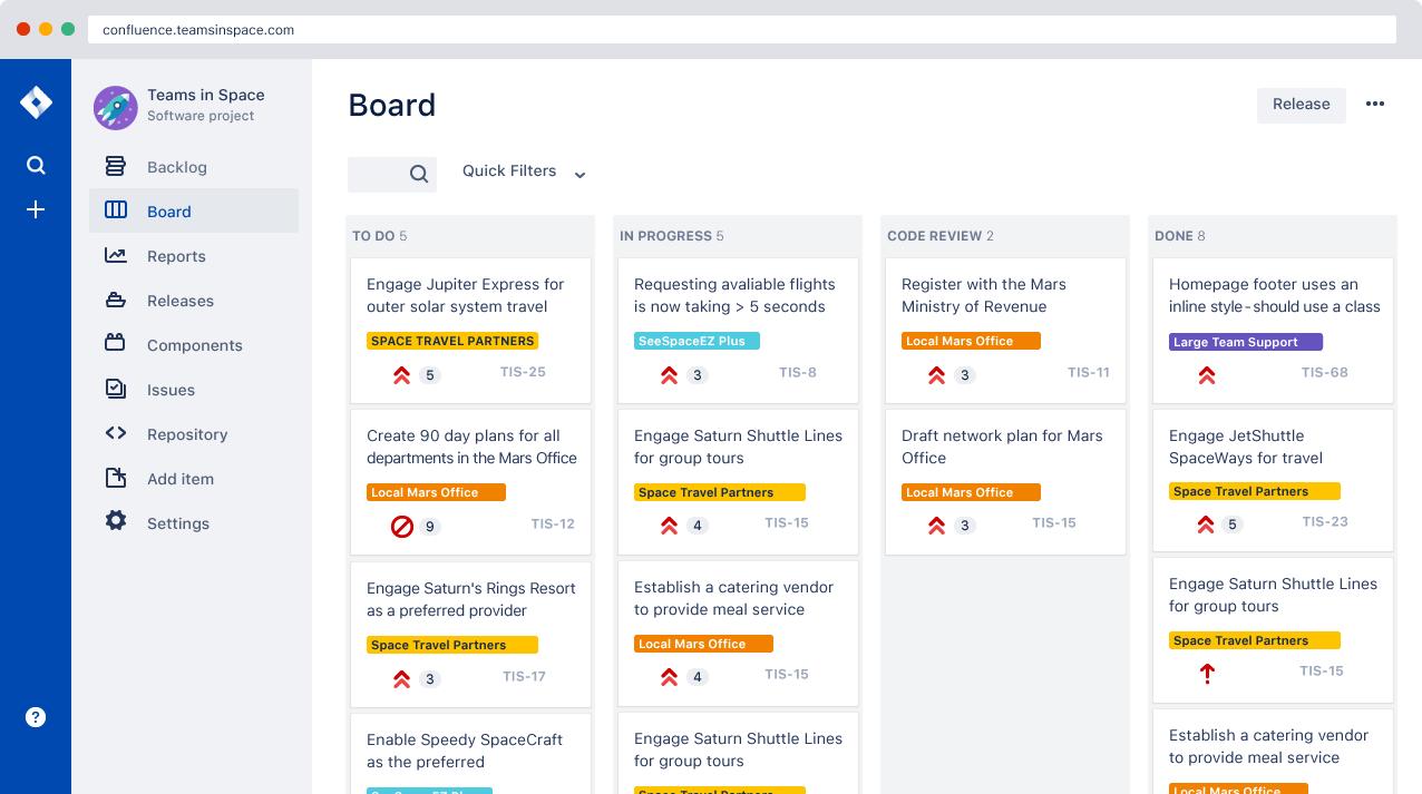 Ejemplo de tablero scrum | Orientador ágil de Atlassian