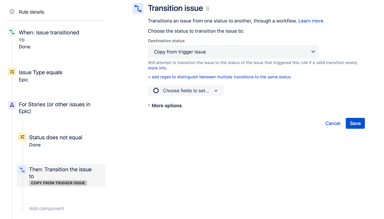 Selecting Destination Status for Transition Issue in Jira Software