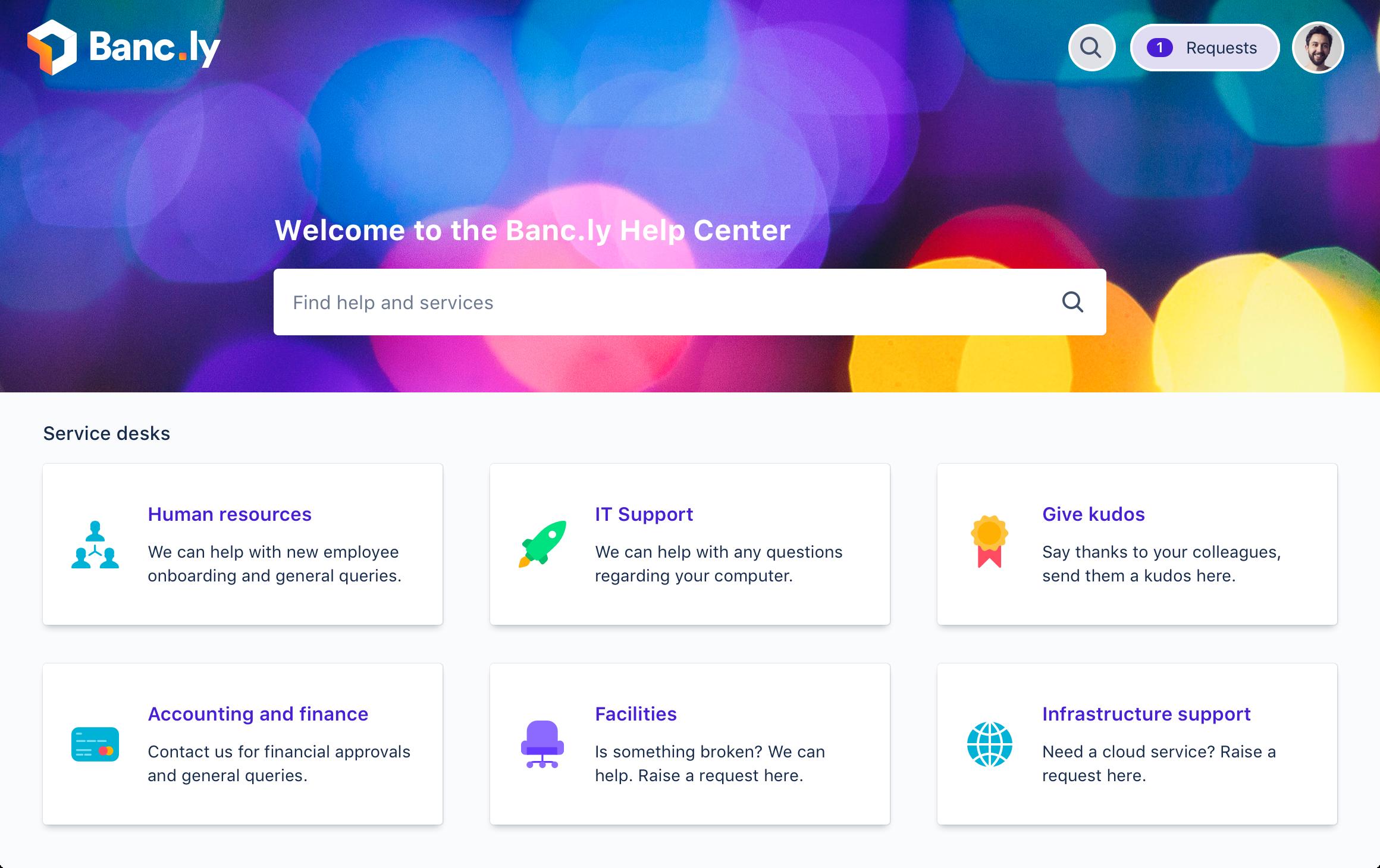 Screenshot of Jira Service Management customer portal