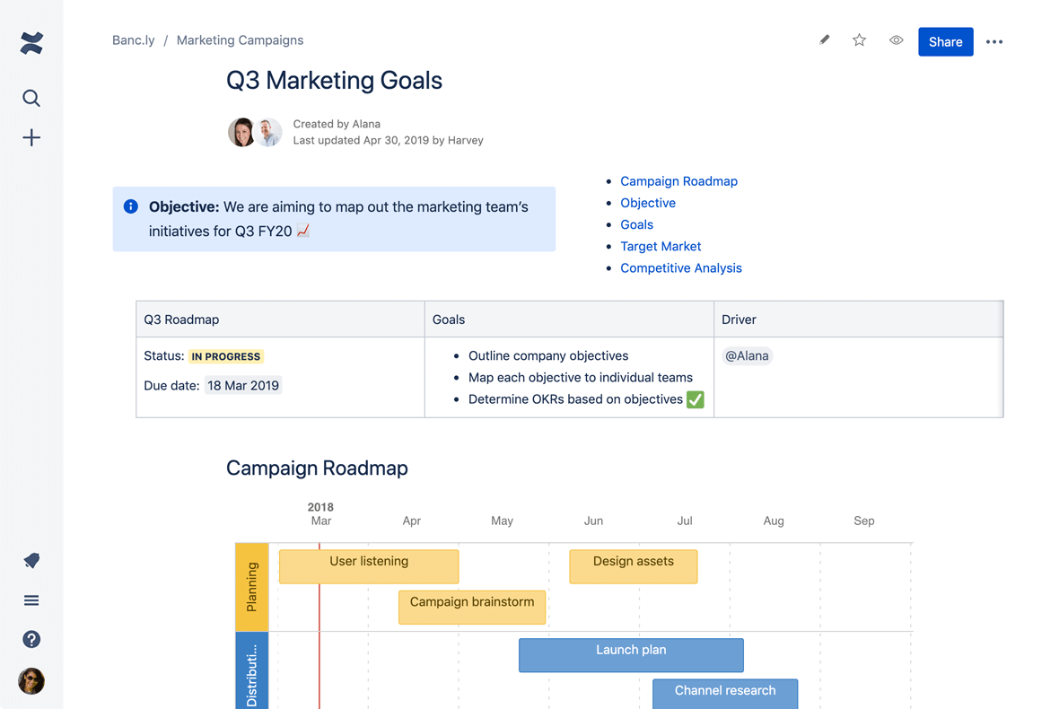 Screenshot of a Confluence template