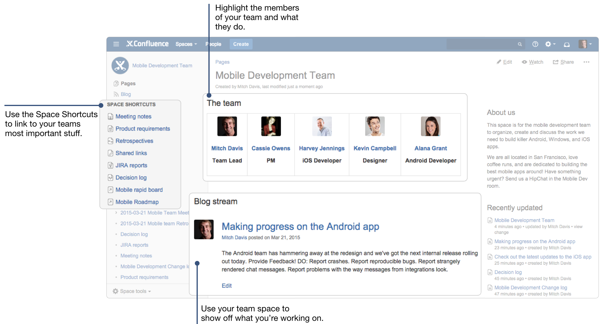 Confluence 101 organize your work in spaces atlassian for Confluence blog template