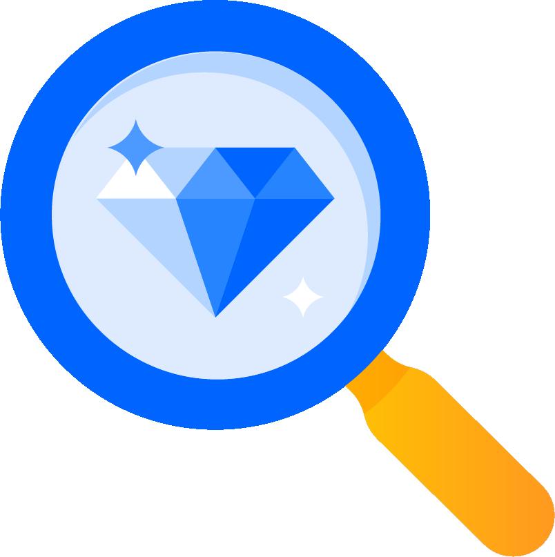 Magnifying glass on gemstone