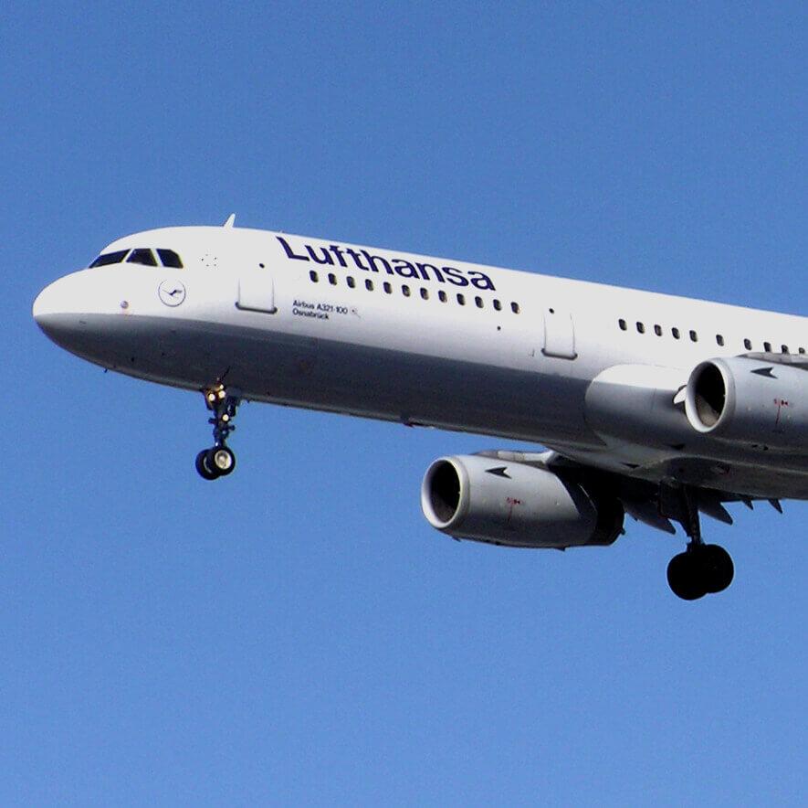 Imagem de um avião da Lufthansa