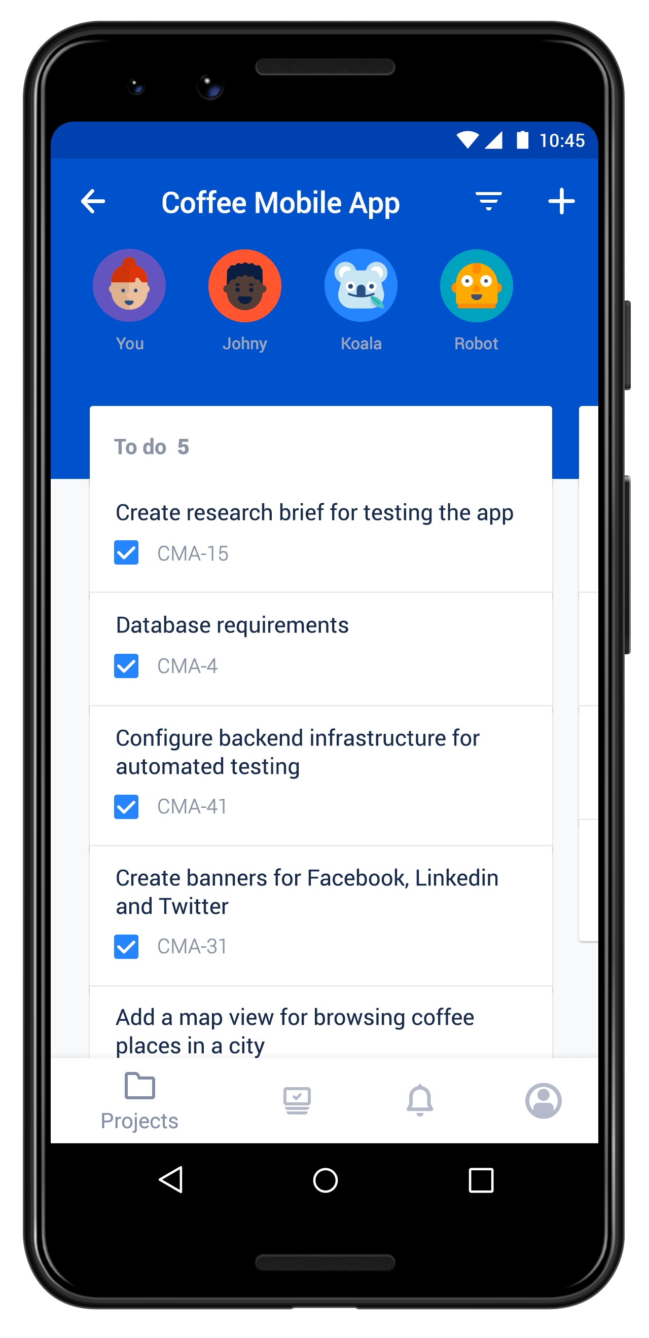Jira Server Mobile screenshot on mobile device, displaying boards and backlogs