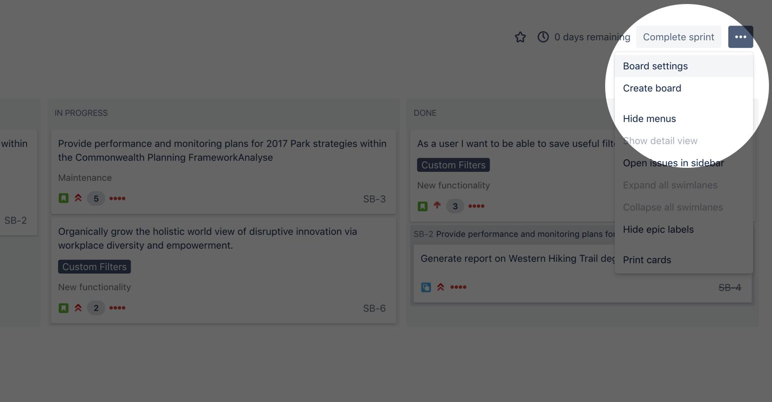 Captura de tela do botão Configurações