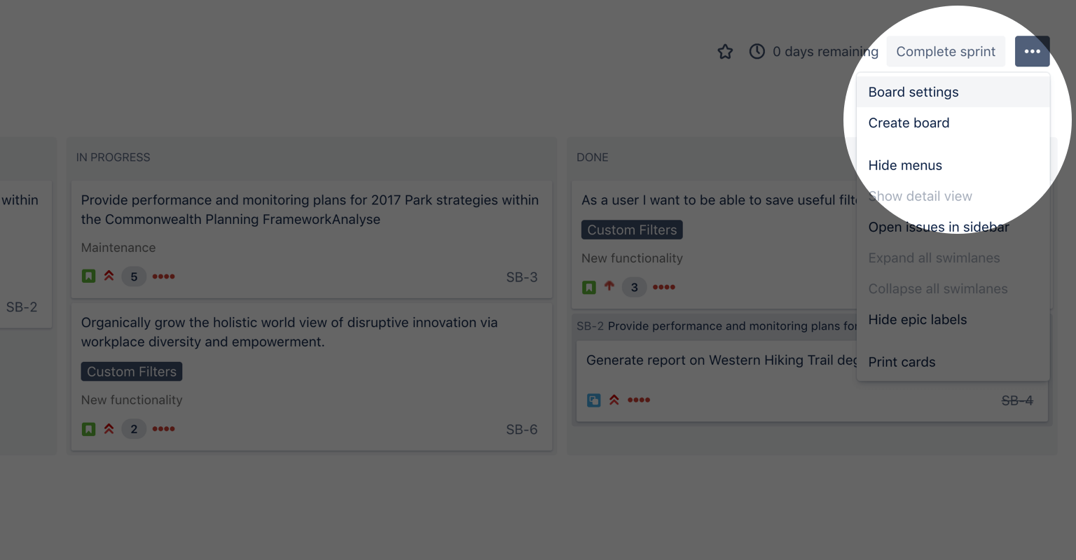 Снимок экрана, на котором подсвечена кнопка настроек