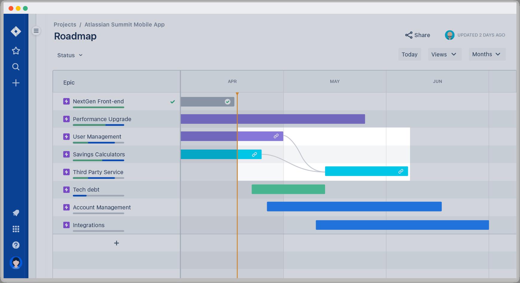 在 Jira Software 路线图上绘制依赖关系