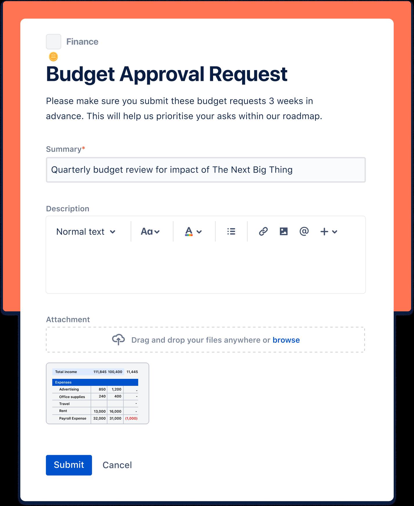 Captura de pantalla de una solicitud de aprobación de un presupuesto