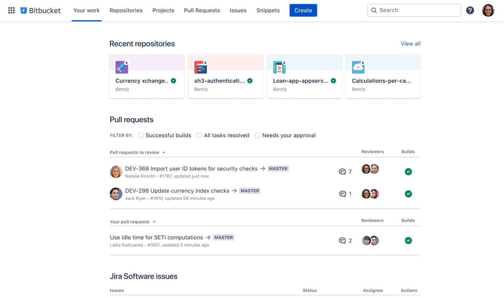 Bitbucket dashboard