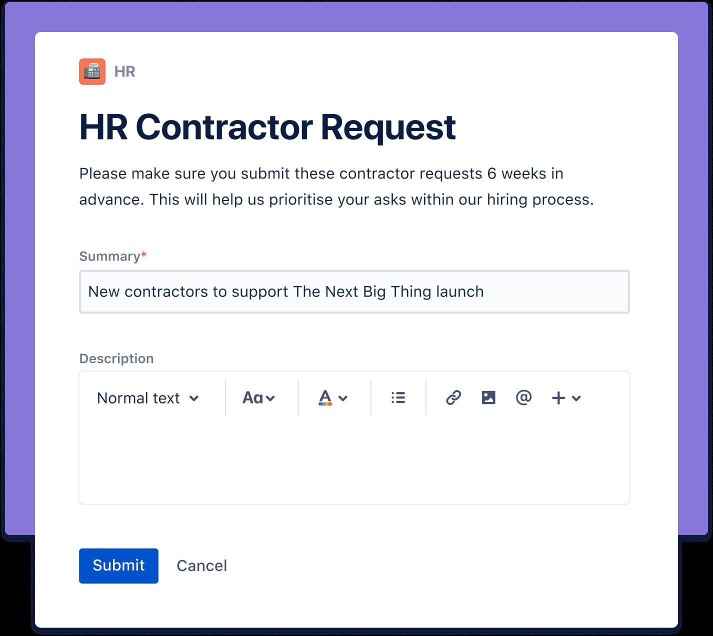 HR contractor request screenshot