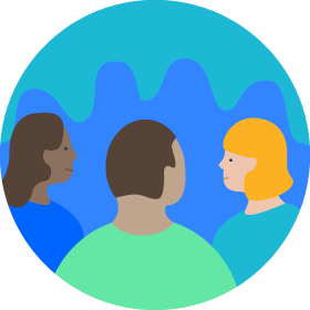 three people talking to eachother