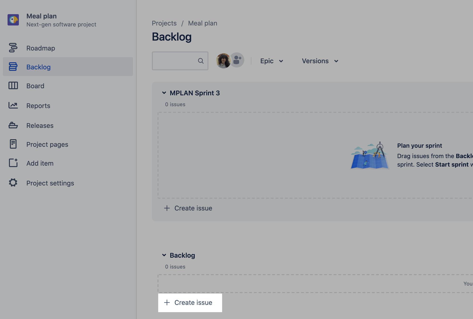 Screenshot highlighting create issue button