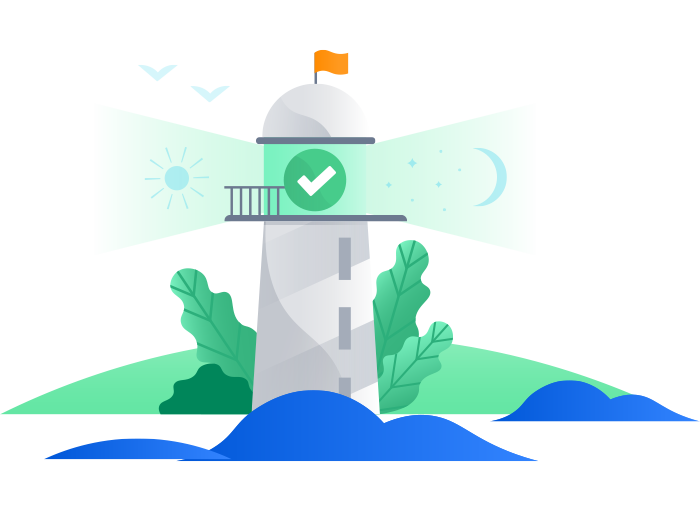 Lighthouse with checkmark