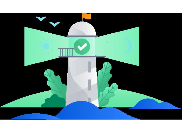 チェックマーク付きの灯台