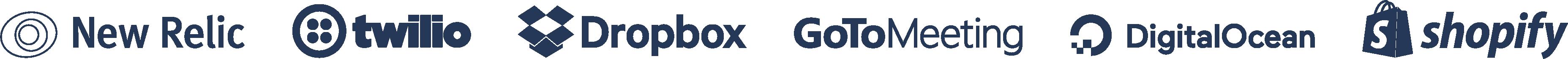 New Relic, Twilio, Dropbox, GoToMeeting, DigitalOcean, Shopify