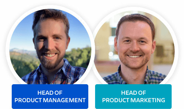 Webinar speakers, the head of product management and the head of product marketing
