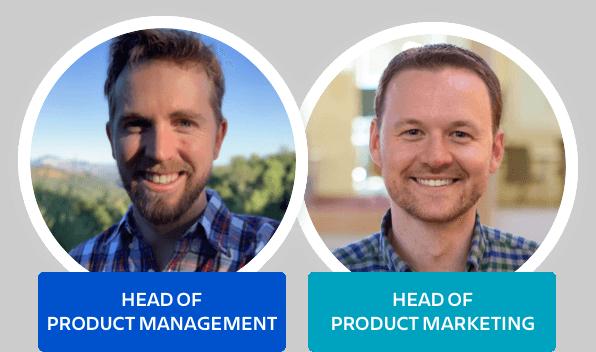 Webinar speakers, the head of product management and the head of product marketing