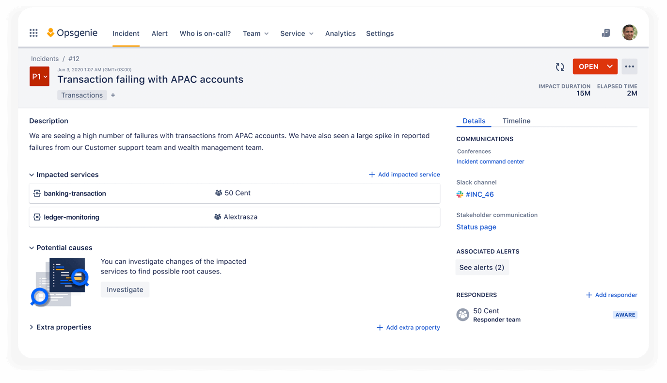 Incident investigation view, powered by Bitbucket