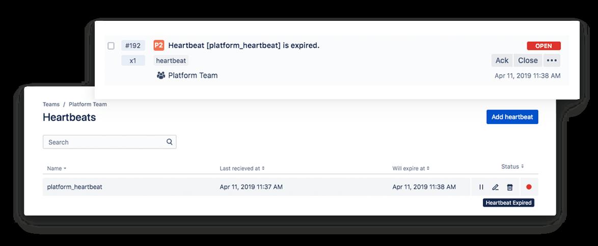 Imagen de la función de supervisión Heartbeats