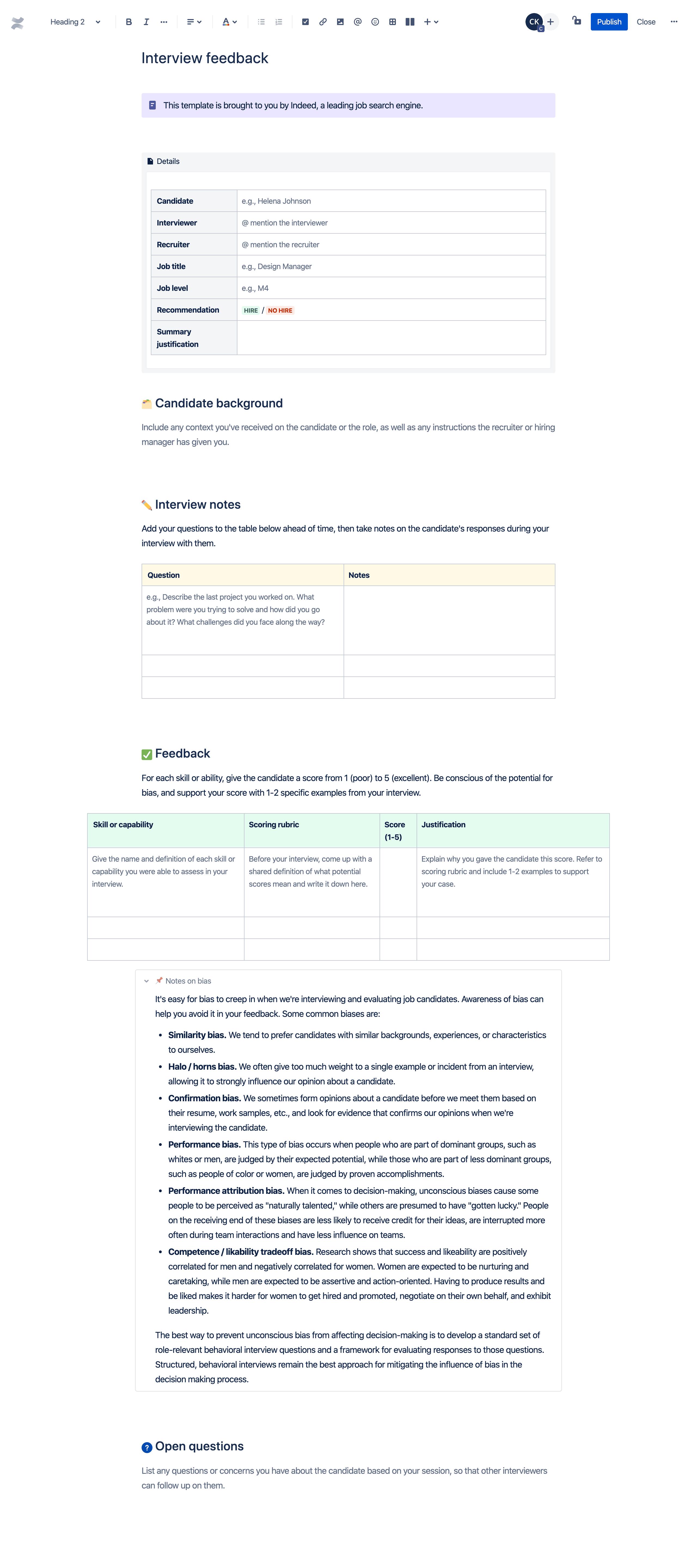 Modèle de feedback sur l'entretien