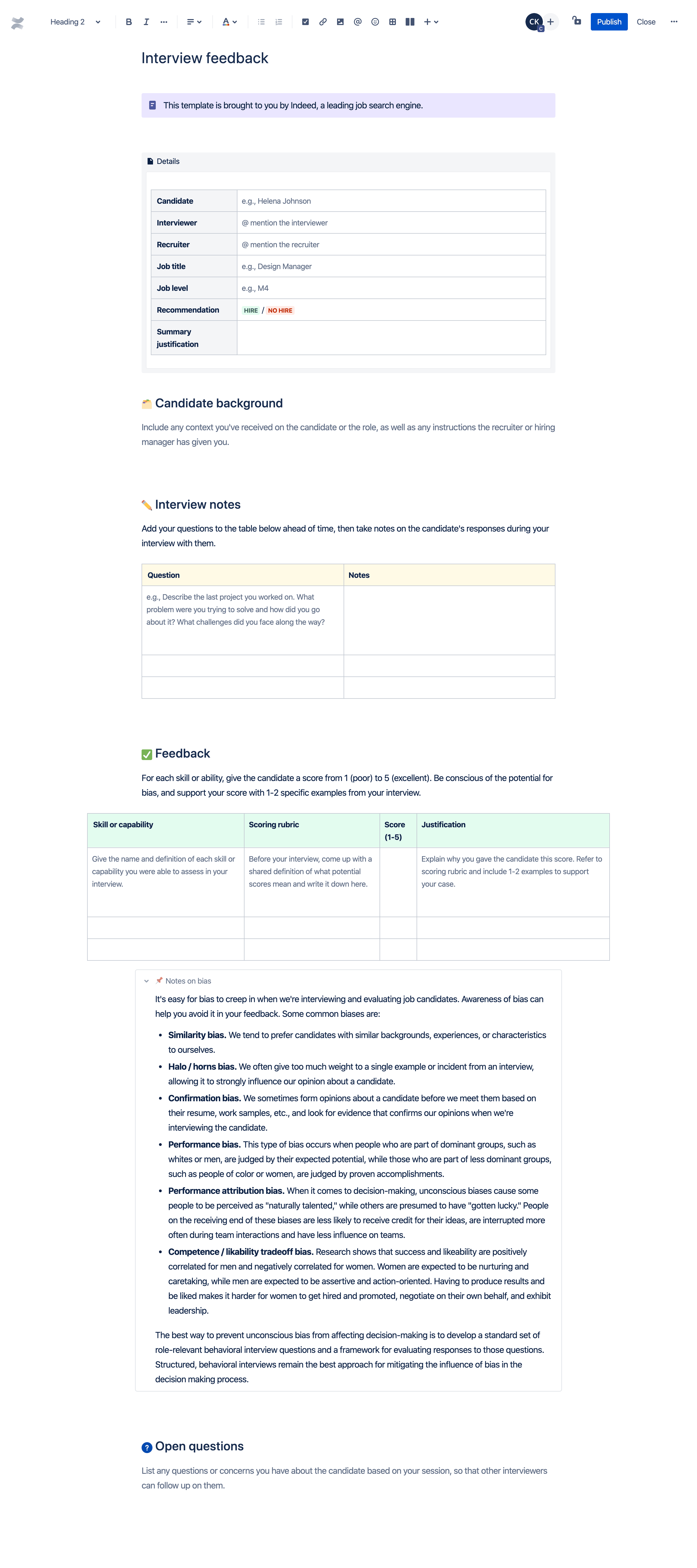 Interview feedback template