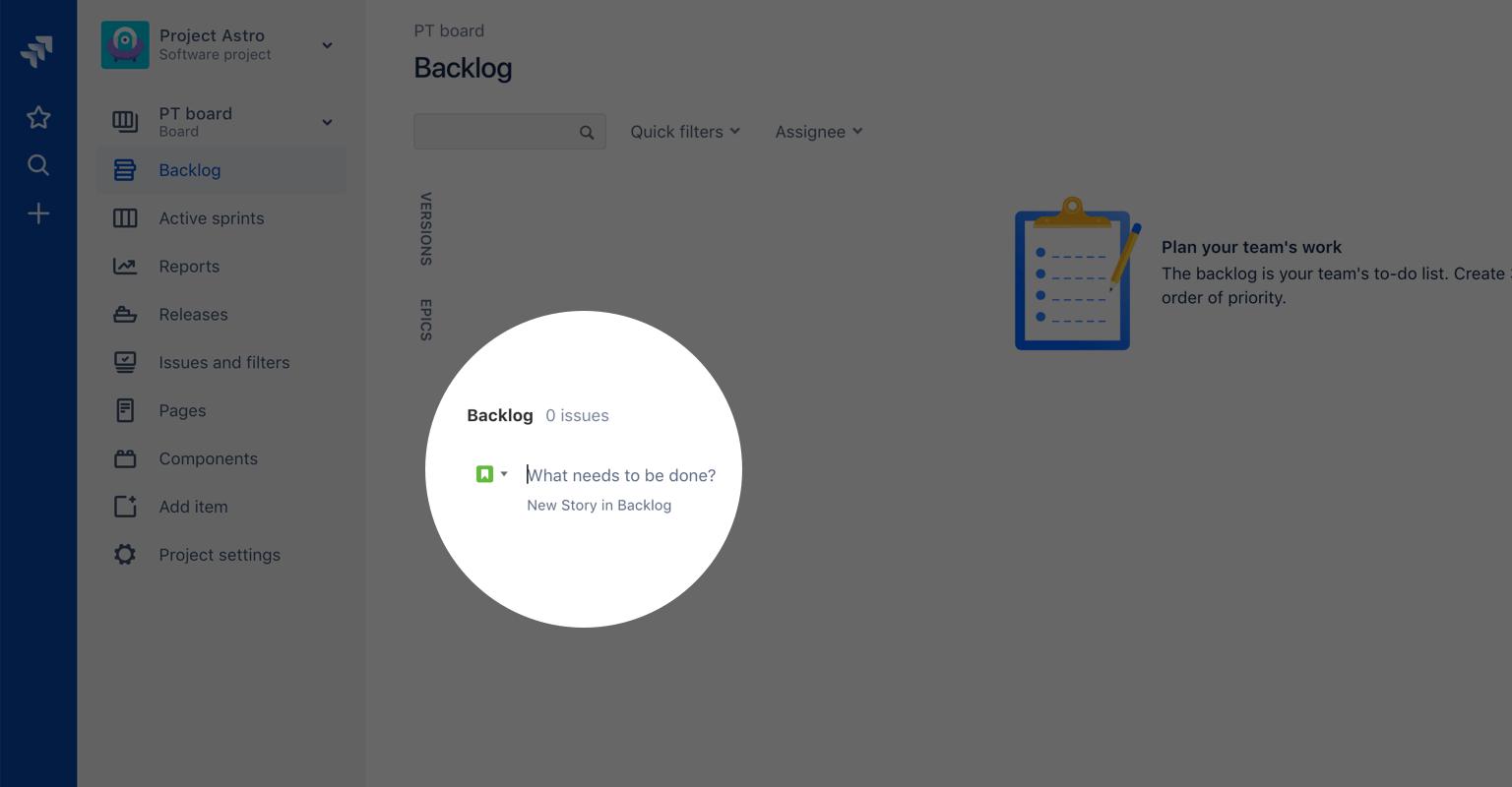 Schermata in cui è evidenziato il pulsante Backlog