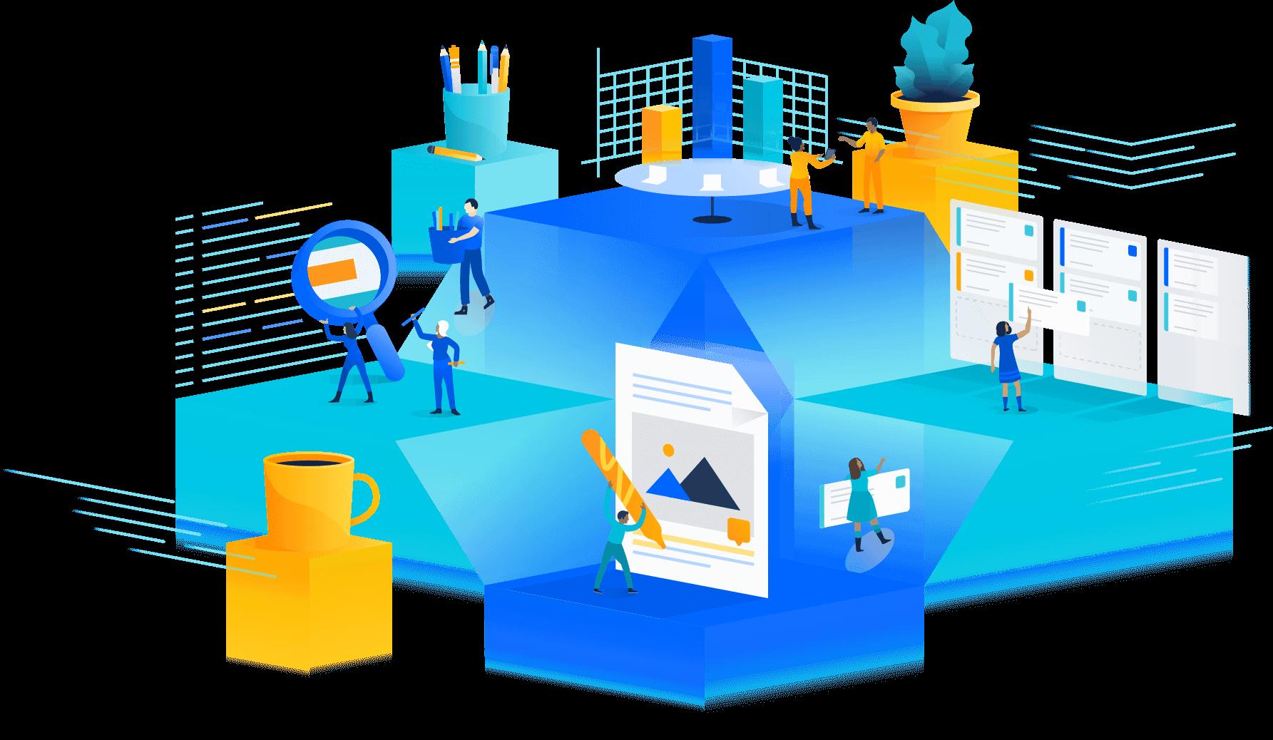 La suite Atlassian<br />connecte toutes<br />vos équipes