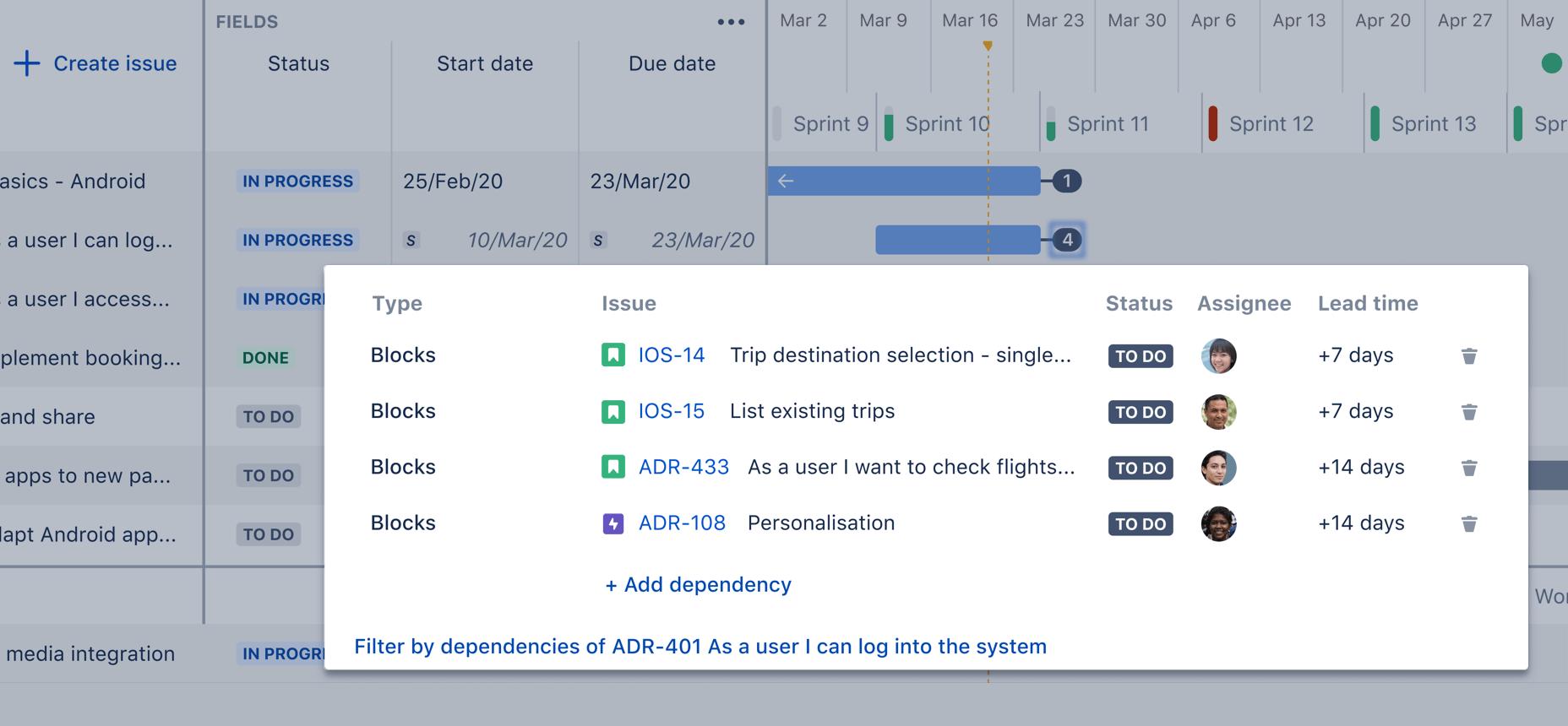 Captura de pantalla de dependencias de Advanced Roadmaps