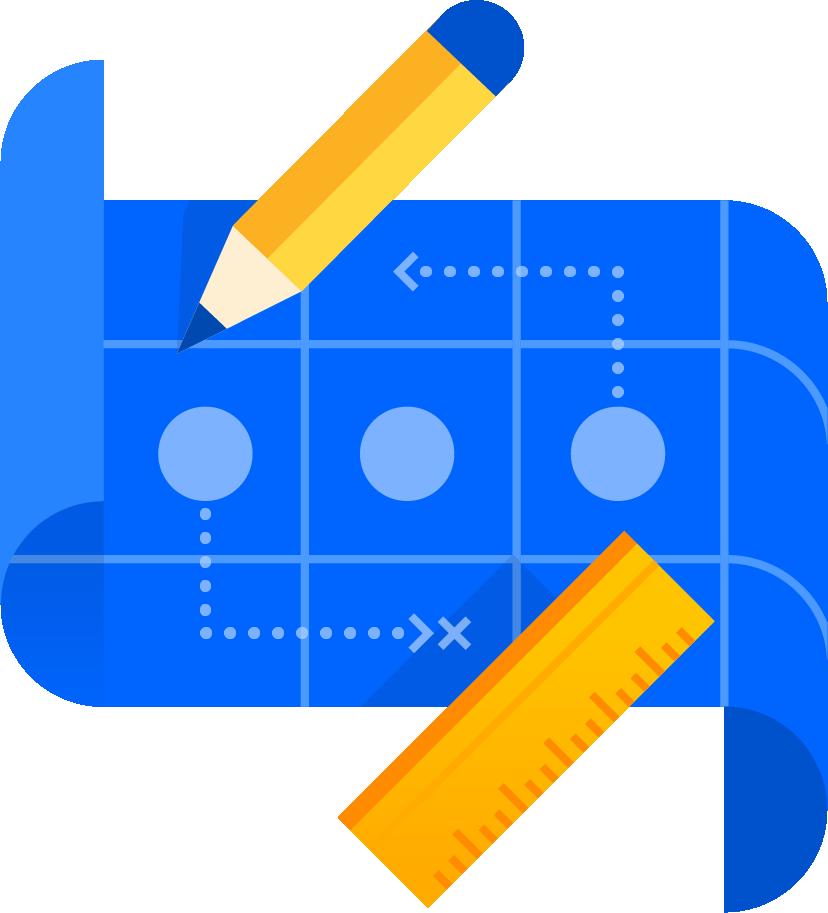 Illustration: Blaupause mit Punkten