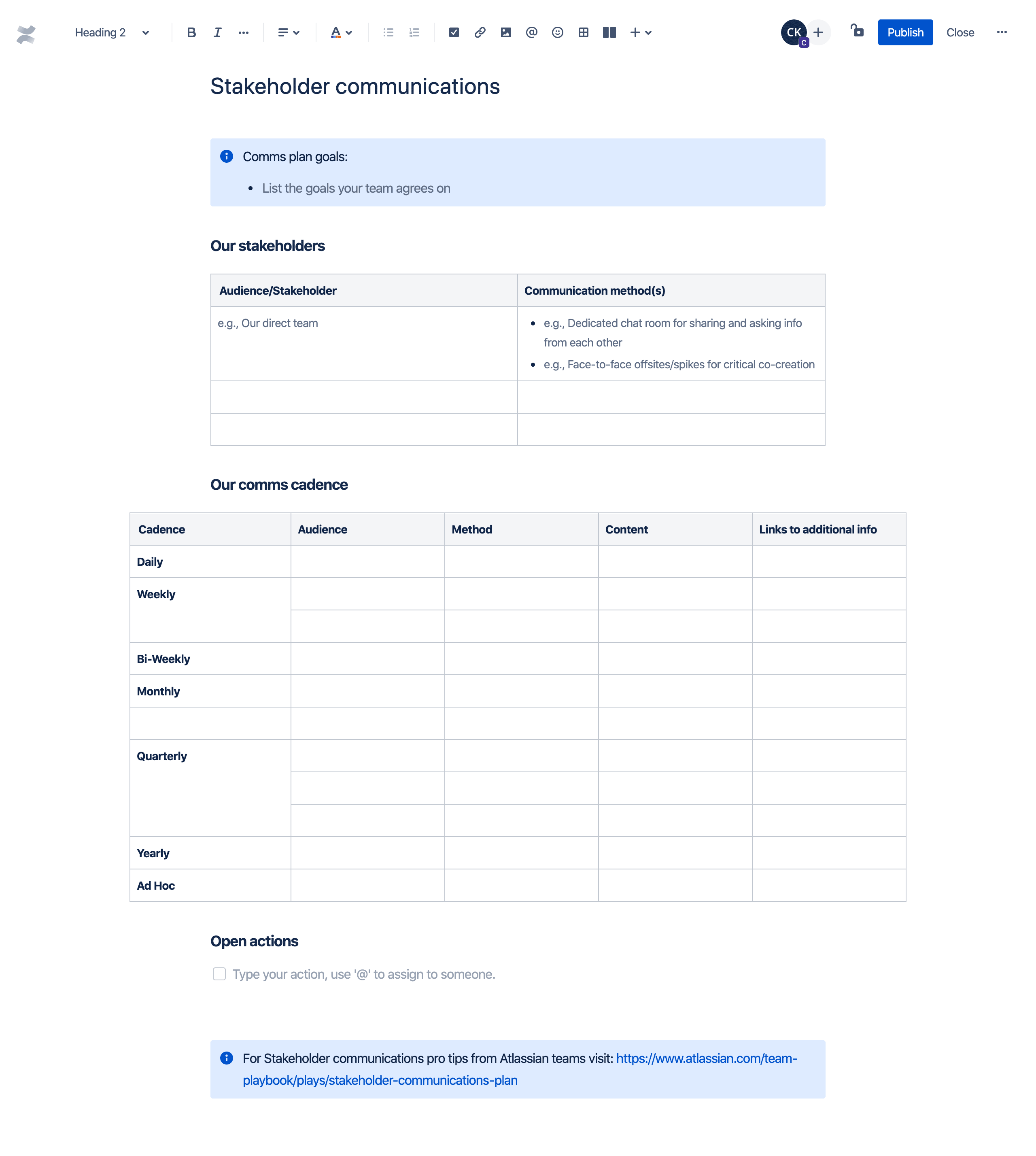 Stakeholder communications template