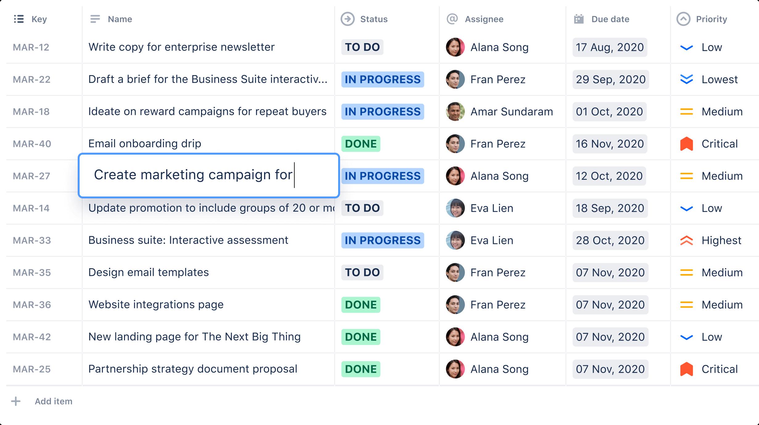 製品のリストのスクリーンショット