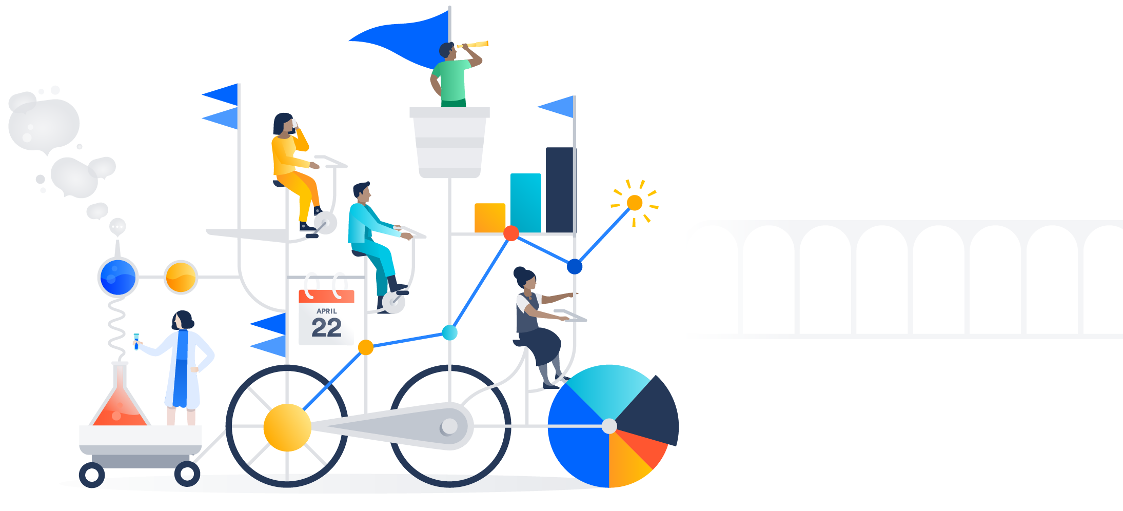 Ilustración de varias personas en una compleja bicicleta