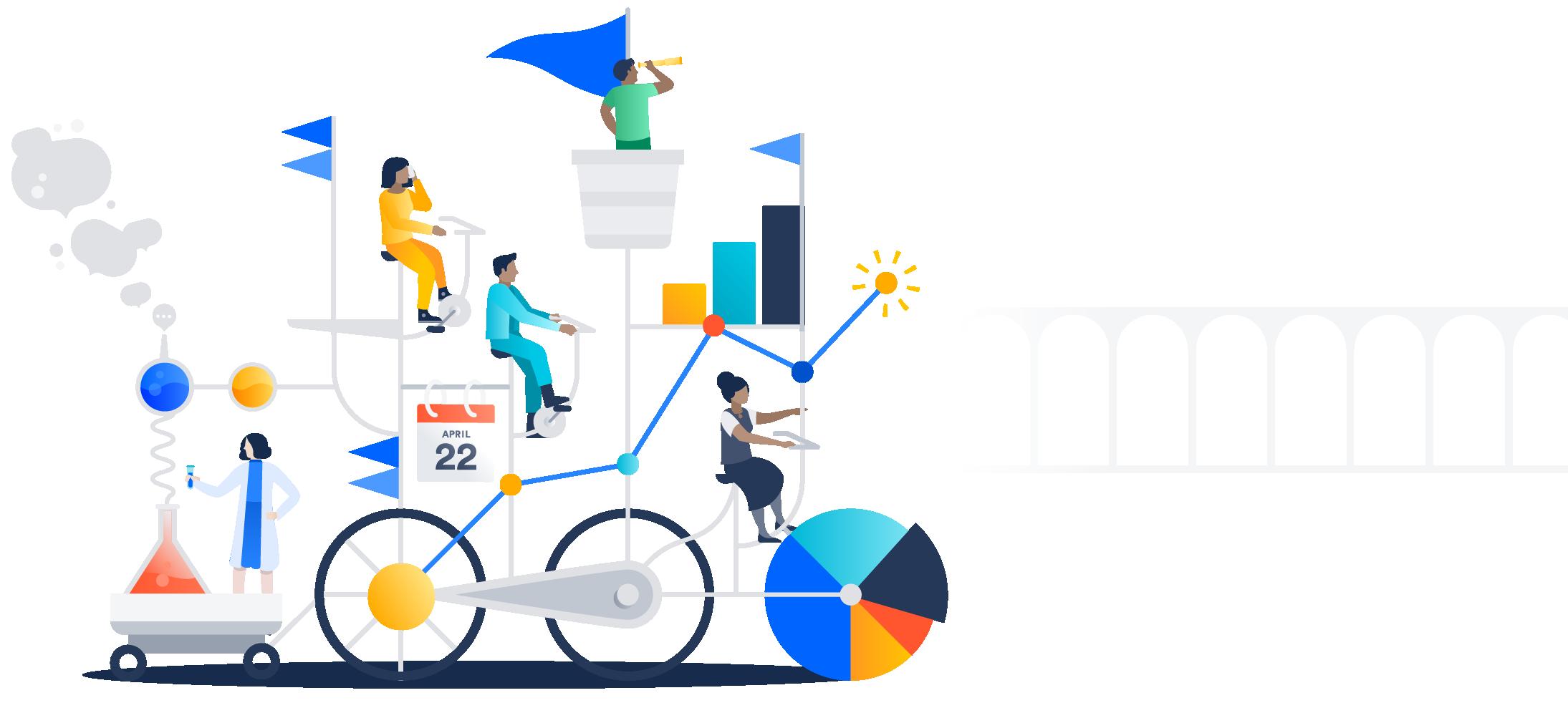 Ilustracja wielu osób na skomplikowanym rowerze