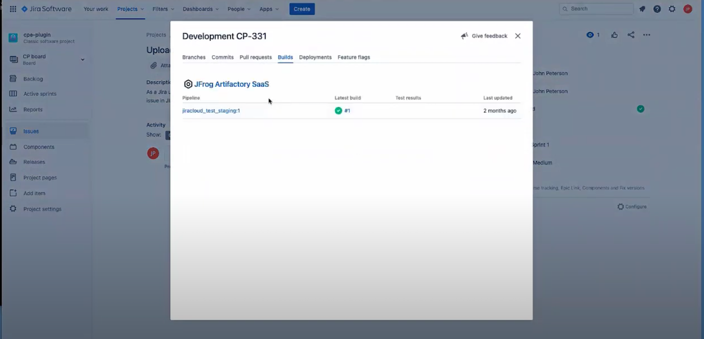 View Artifactory Builds from Jira Issues