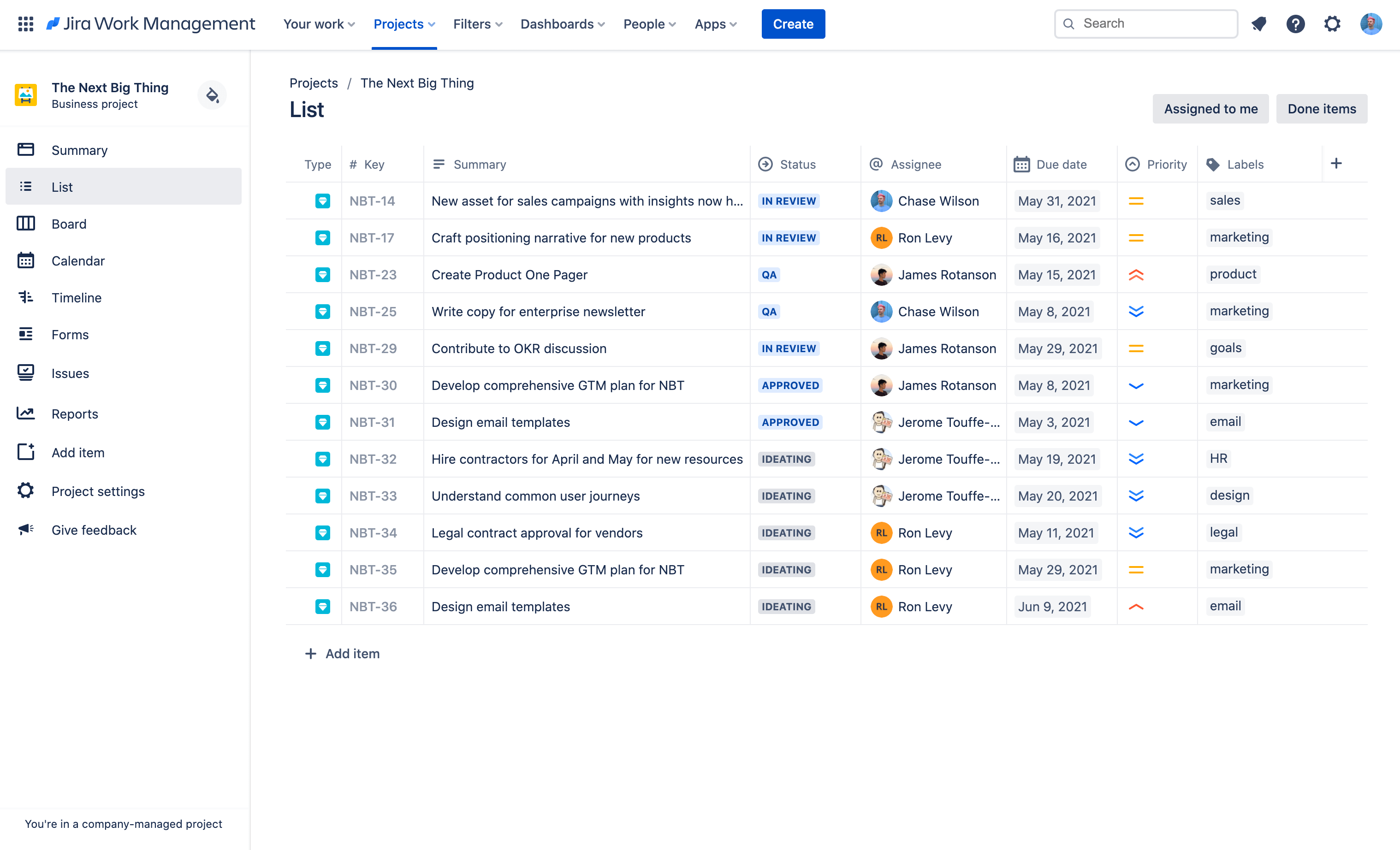 Widok listy — zrzut ekranu