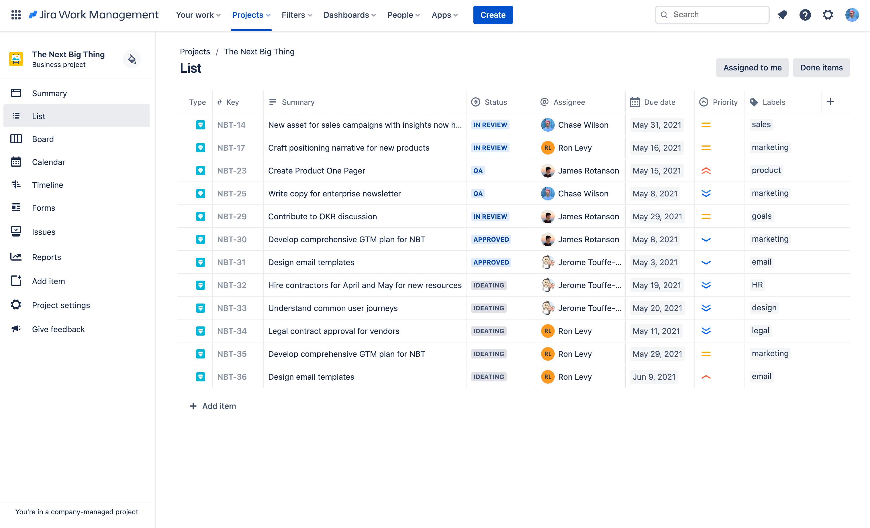 Screenshot della vista elenco