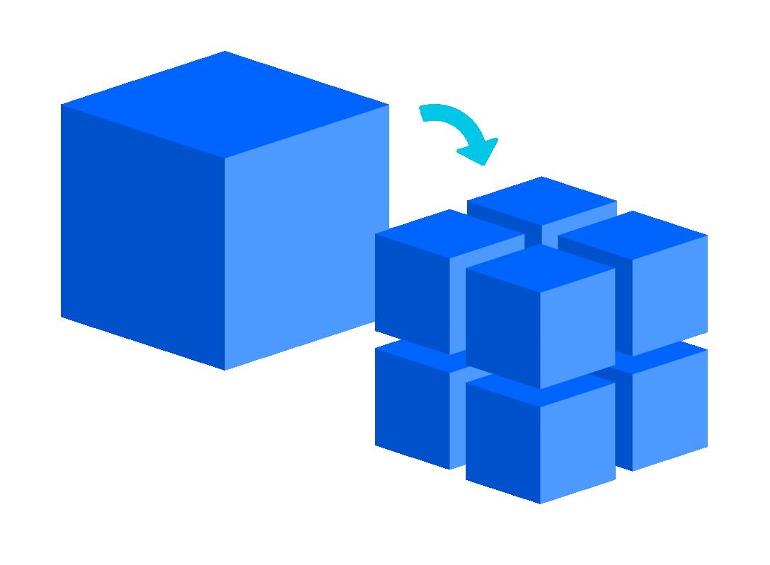 Ein Diagramm, das zeigt, wie ein großer Würfel in viele kleinere Würfel zerlegt werden kann.