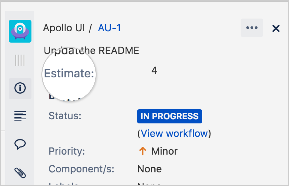In the issue details, click the Estimate field.