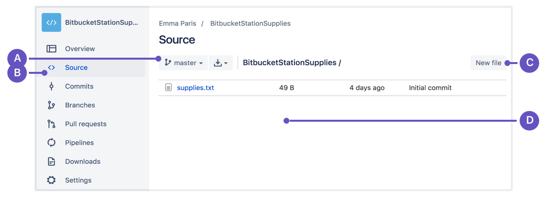 Bitbucket source window