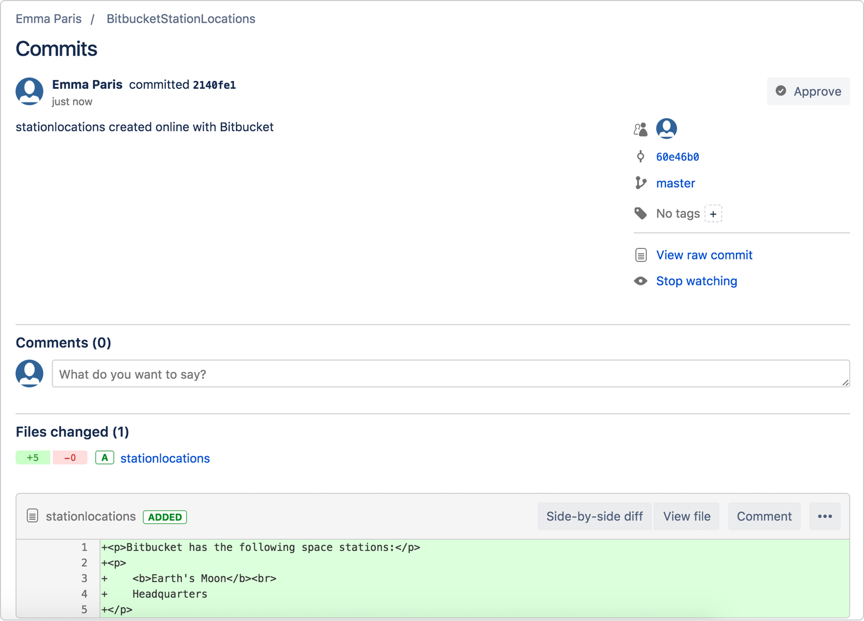 Bitbucket commit message