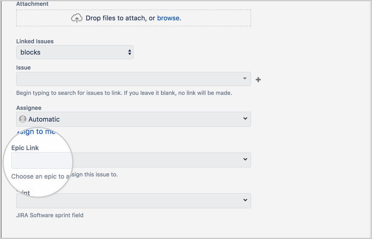Найдите поле Epic Link (Ссылка на эпик) и выберите нужный эпик